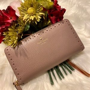 Kate Spade Large Wallet Phone Clutch Taupe Gold